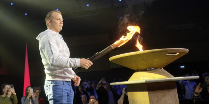 Fabian Hambüchen lights up the Olympic Flame. Photo: IKA/Culinary Olympics